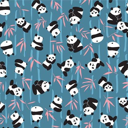 Panda Bamboo Seamless Pattern