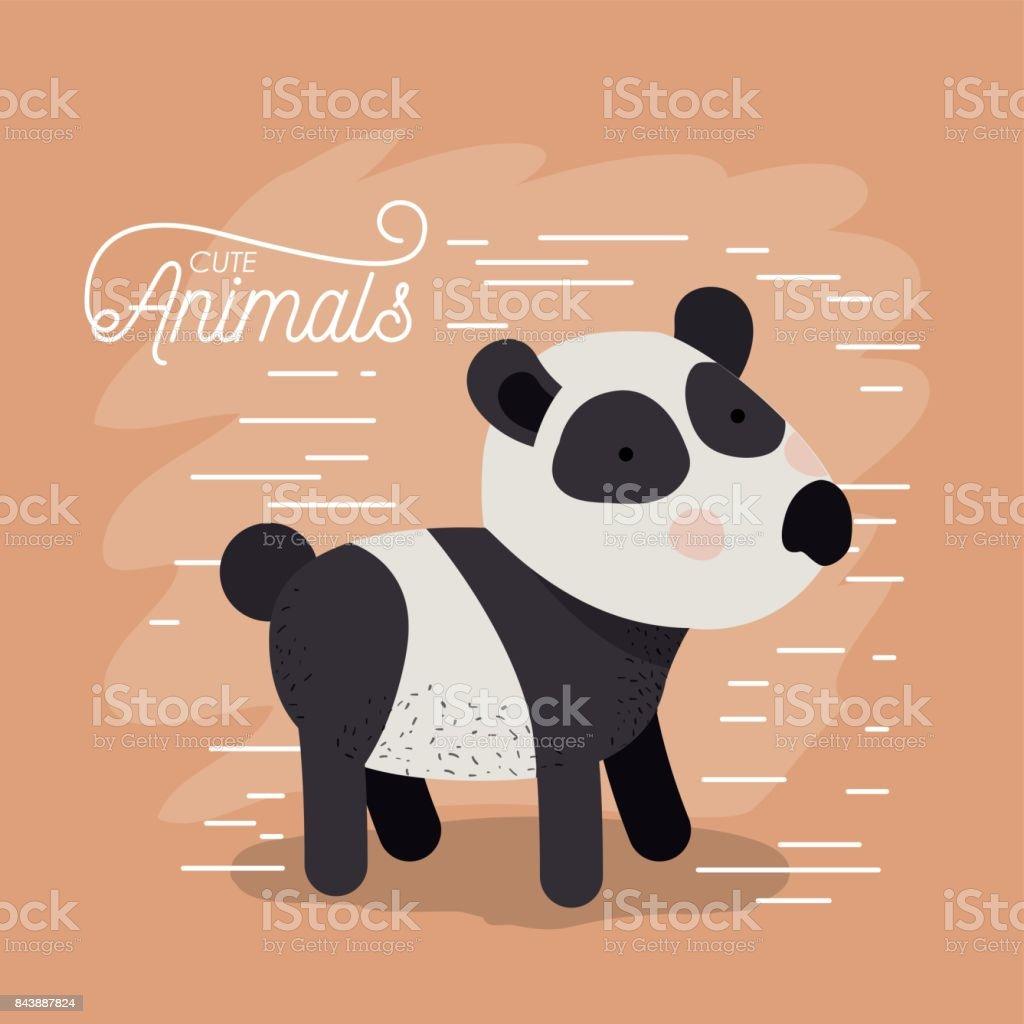 Ilustración de Caricatura De Animales Oso Panda En Fondo De Color ...