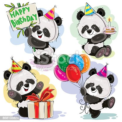 Greeting Card For Birthday With Cute Panda. Royalty Free Cliparts, Vectors,  And Stock Illustration. Image 98041790.