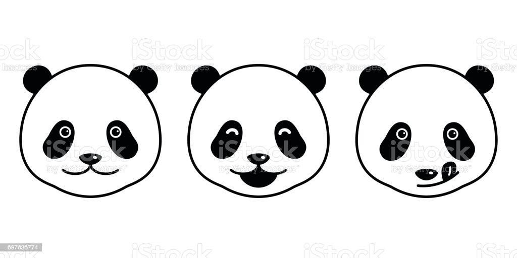Pandabär Gesicht Doodle Vektor Illustration Karikatur