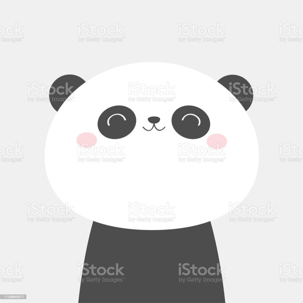 Icone De Tete De Visage De Panda Bear Noir Et Blanc Animal Kawaii