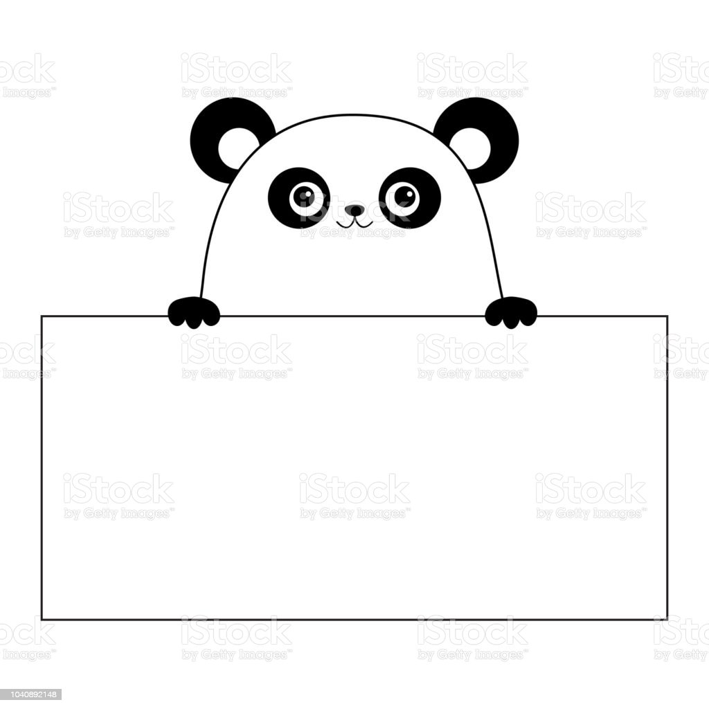panda bear face head silhouette hanging on paper board template paw