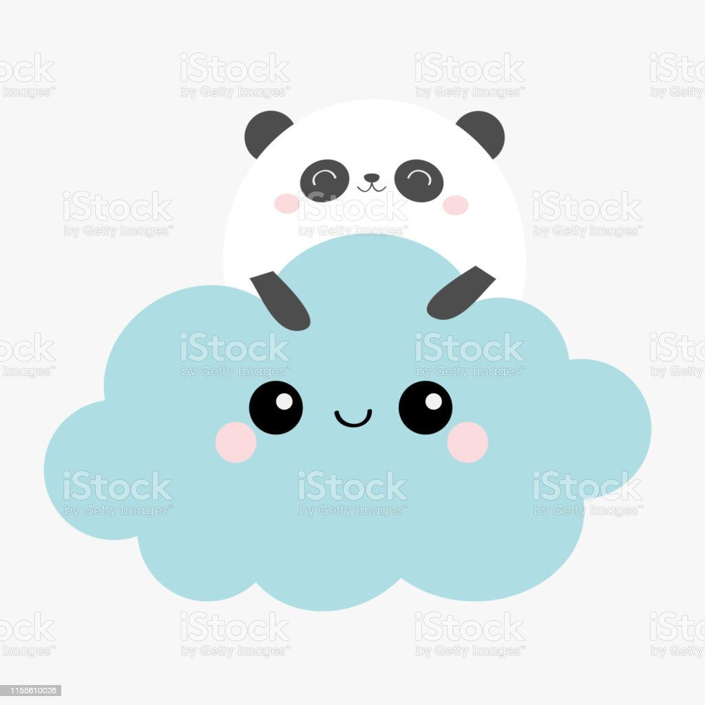 Ours Panda Visage Tenant Le Nuage Bleu Dans Le Ciel Mignon Dessin Anime Kawaii Drole Souriant Bebe Personnage Decoration De Chambre Denfant Imprimer Les Enfants Fond Blanc Design Plat Vecteurs Libres De