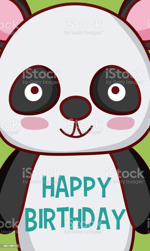 Panda Bear Happy Birthday Card Stock Vector Art More Images Of