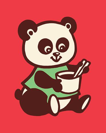 Panda Bear Holding Cup