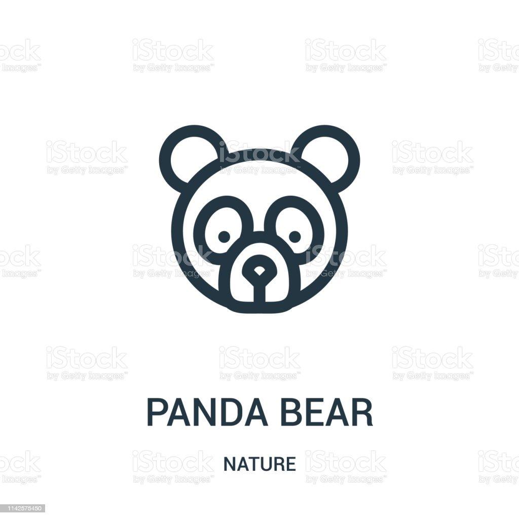 panda bear icon vector from nature collection. Thin line panda bear...