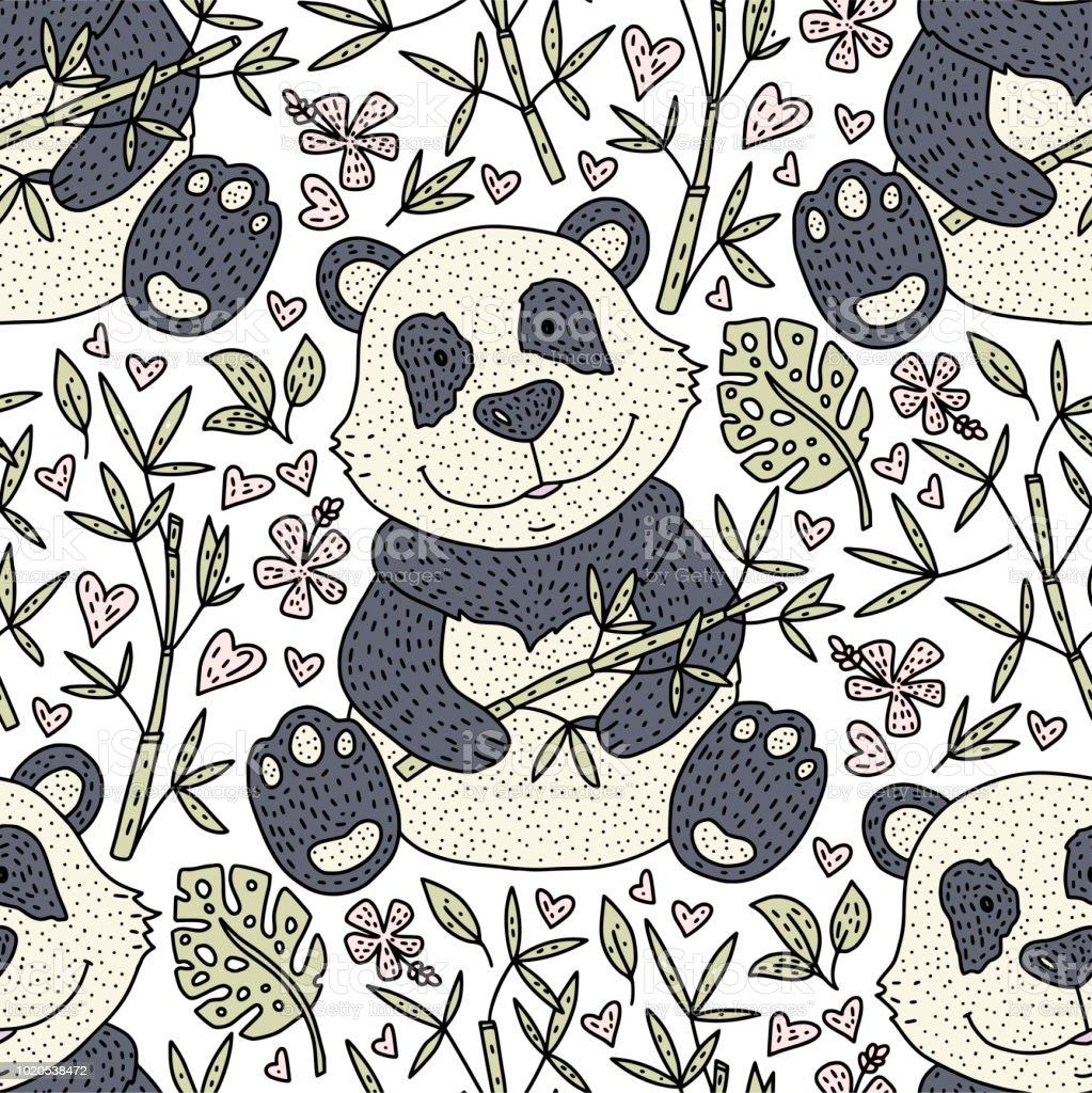 Pandabar Illustration Vektor Mit Bambus Karte Der Hand Gezeichneten