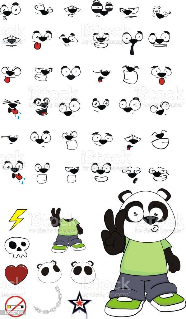 panda bear kid expressions set royalty-free panda bear kid expressions set stock vector art & more images of angel