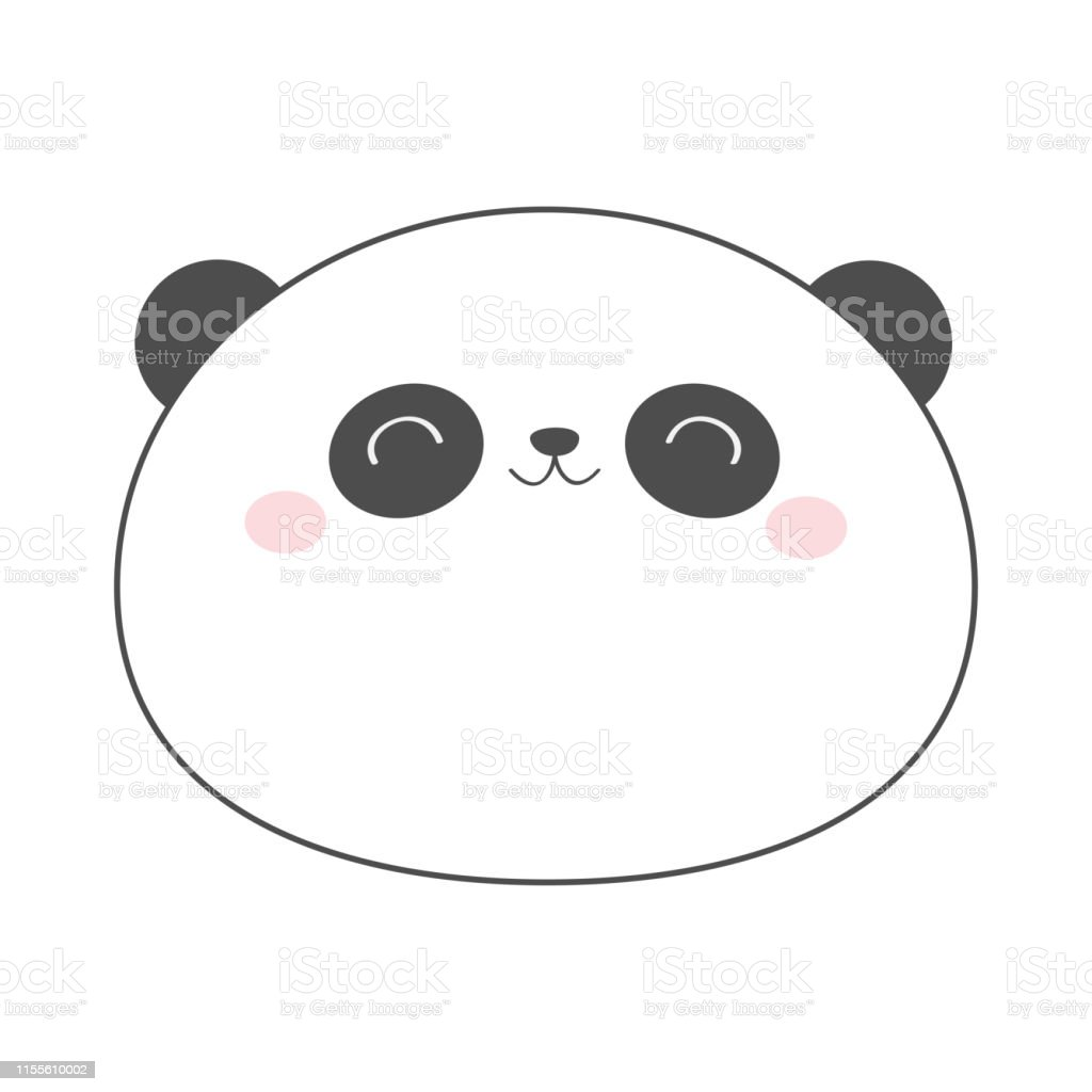 Ours Panda Rond Tete Croquis Ligne Icone Animal Kawaii Personnage