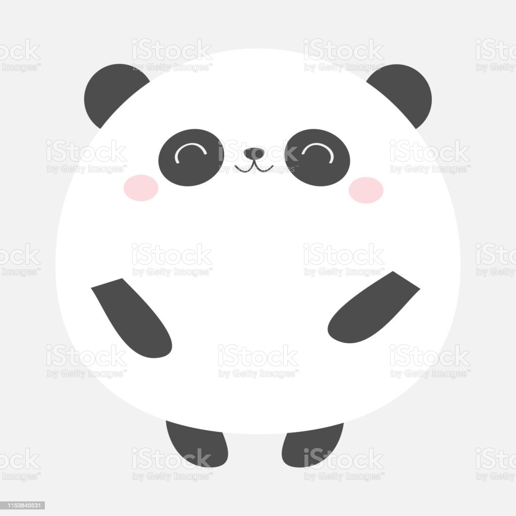 Ours Panda Icône Ronde Noir Et Blanc Animal Kawaii