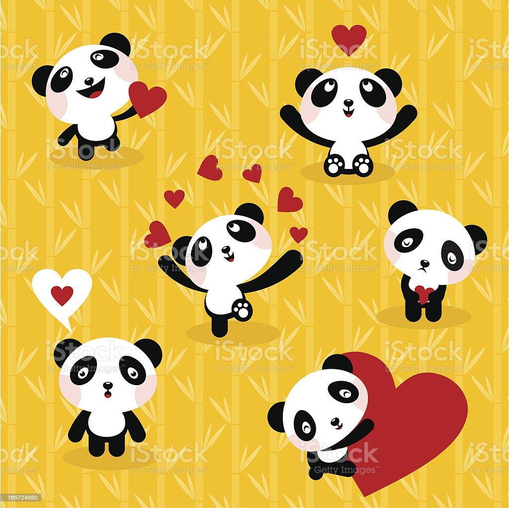 Osos pandas conjunto de icono Amor Monada illustracion libre de derechos libre de derechos