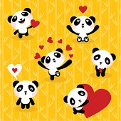 Panda bears ,set, icon, love, cute