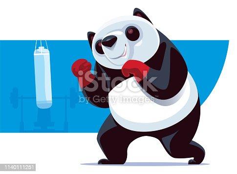 Panda Boxer con saco de boxeo