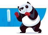 vector illustration of panda boxer with punching bag