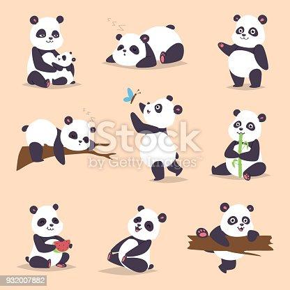 Panda de dibujos animados carácter en varios expresión vector animal blanco negro de china lindo oso panda gigante mamífero grasa desierto rara. Mentira bosque oso panda comiendo bambú animales salvajes de china
