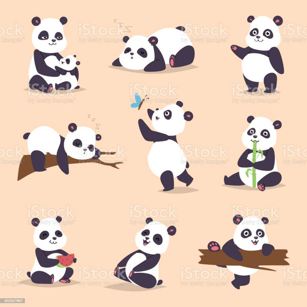 Panda cartoon character in various expression vector animal white cute china black panda bear giant mammal fat wilderness rare. Lying woods panda bear eating bamboo china wild animals vector art illustration