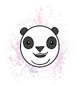 Cartoon Panda on Spray Painted Background. Vector Illustration. Good for print, web and animation projects.