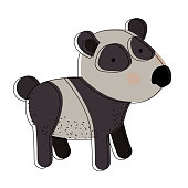 panda cartoon watercolor silhouette in white background vector illustration