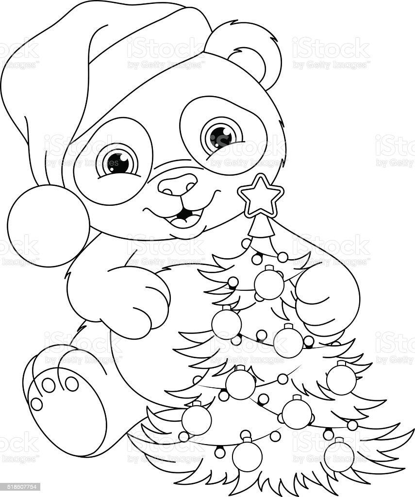 Panda Weihnachten Färbung Seite Vektor Illustration 518507754 | iStock