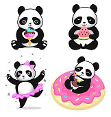 Panda collection isolated on white background. Vector illustration.