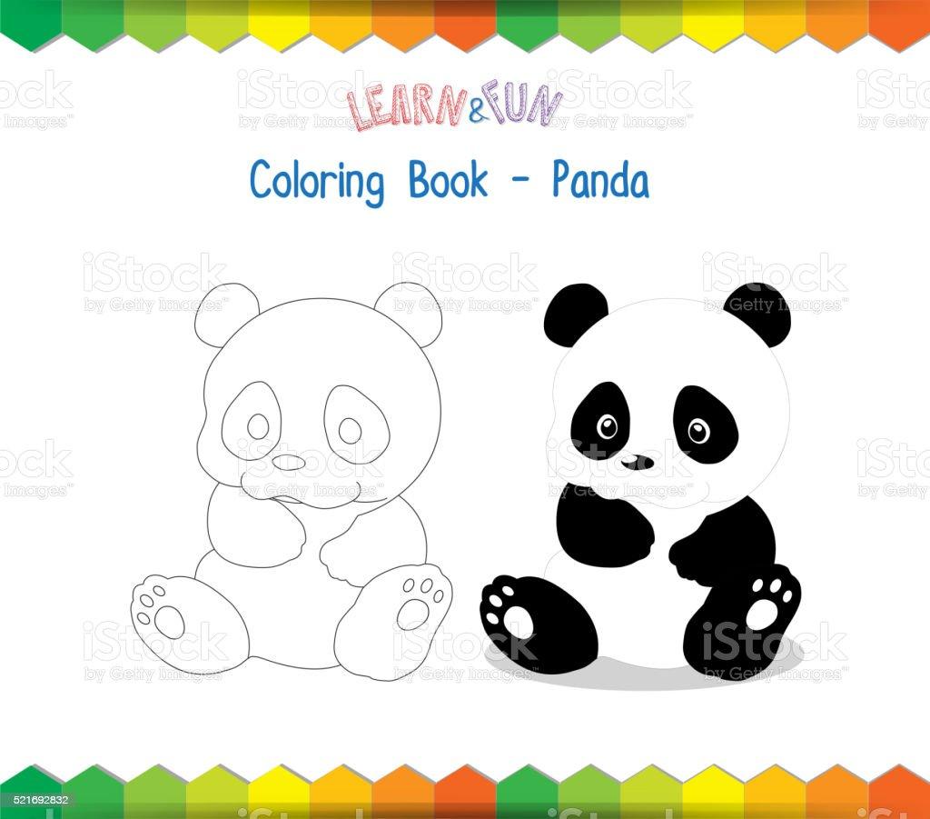 Ilustración De Oso Panda Libro Para Colorear Educativo Juego Y Más