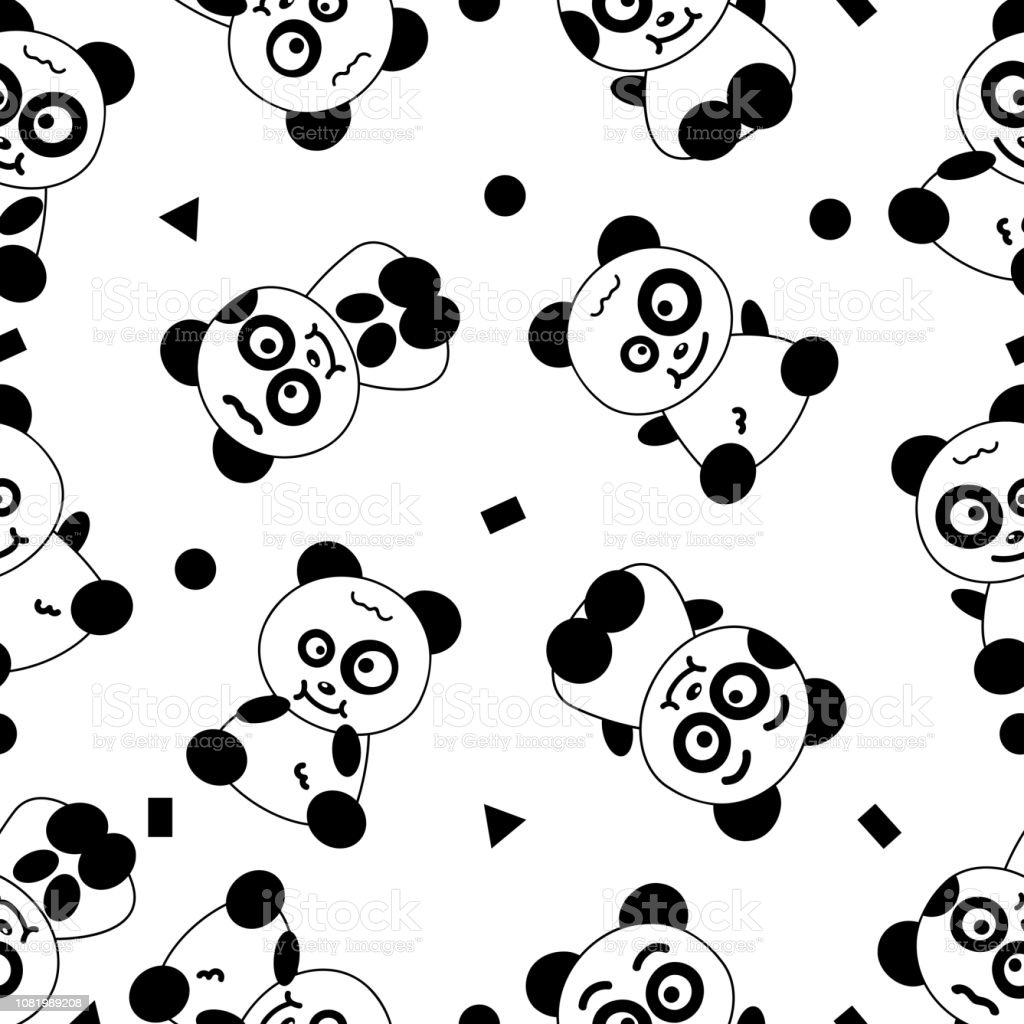 Panda Cute Cartoon Seamless Pattern Black And White Abstract Background Vector Illustration Textured Stock Illustration Download Image Now Istock