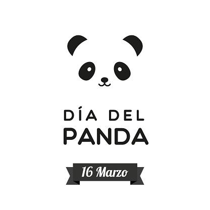 Panda Day. March 16. Spanish. Dia del Panda. 16 Marzo. Bear panda face icon. Black and white. Vector illustration, flat design