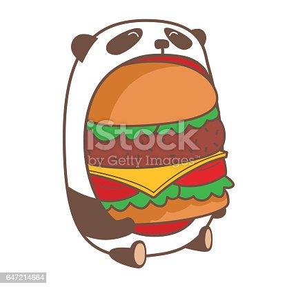 Comer hamburguesa enorme Panda.