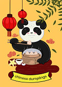 Panda eats Chinese dumplings. Banner for the restaurant. Vector graphics.