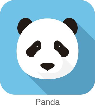 panda face flat icon design. Animal icons series.