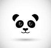 Panda cute face icon vector
