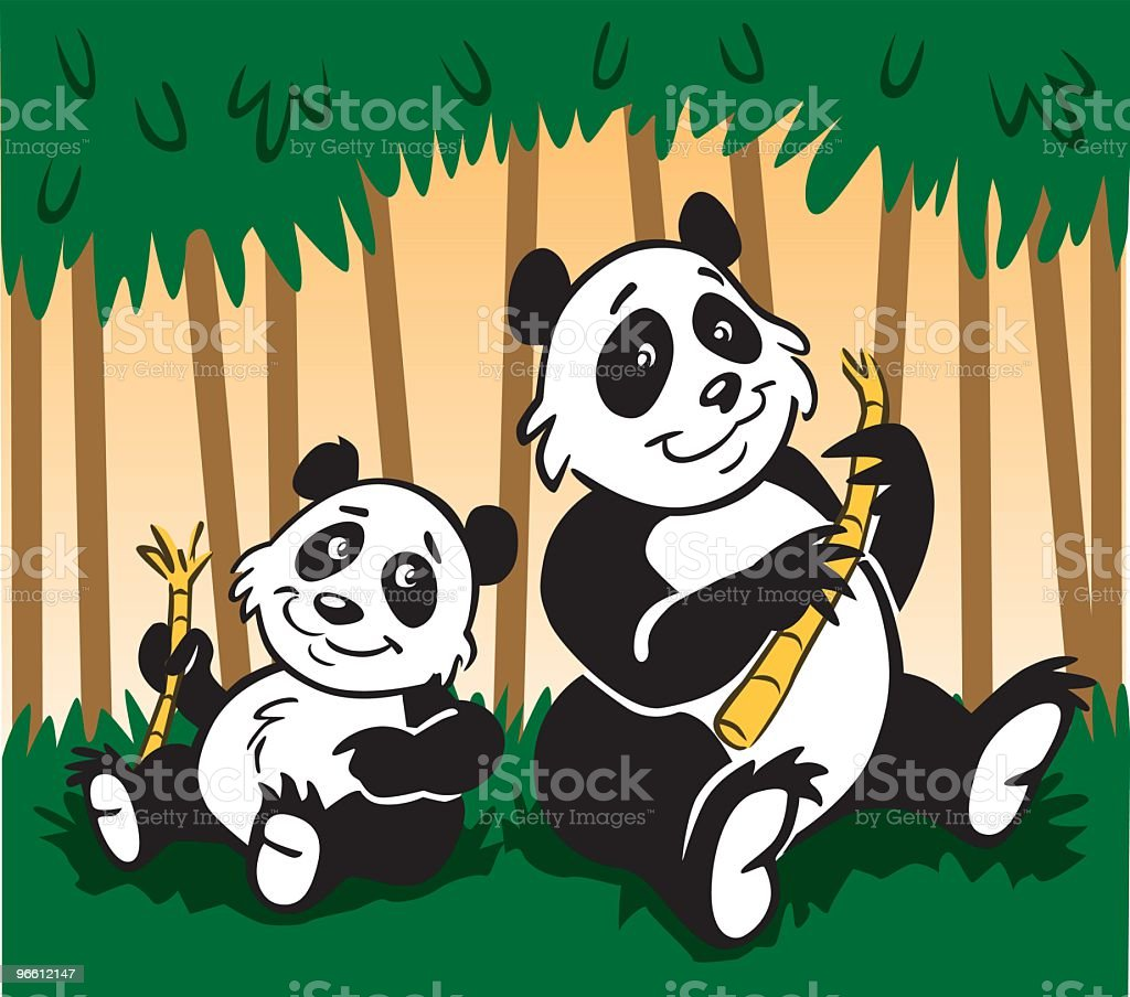 Panda Family - Royalty-free Animal stock vector