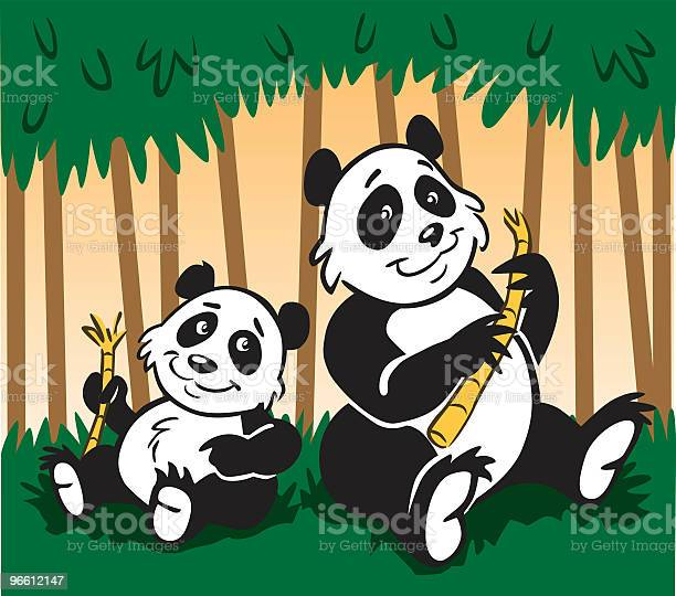 Panda Family-vektorgrafik och fler bilder på Bambu - Gräsfamiljen