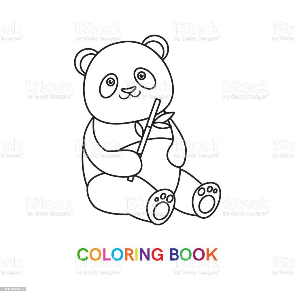 Panda Boyama Kitabi Icin Stok Vektor Sanati Anaokulu Nin Daha