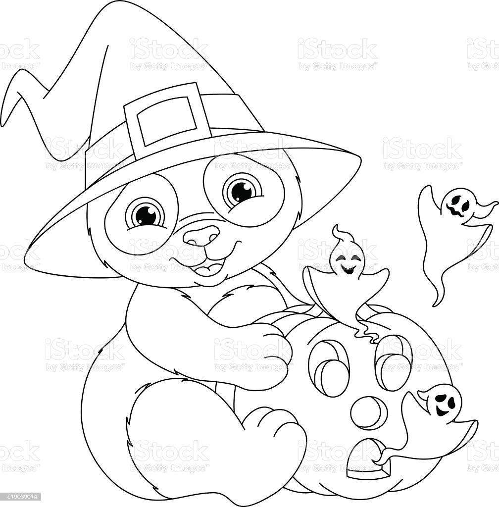 Panda Día De Las Brujas Página Para Colorear - Arte vectorial de ...