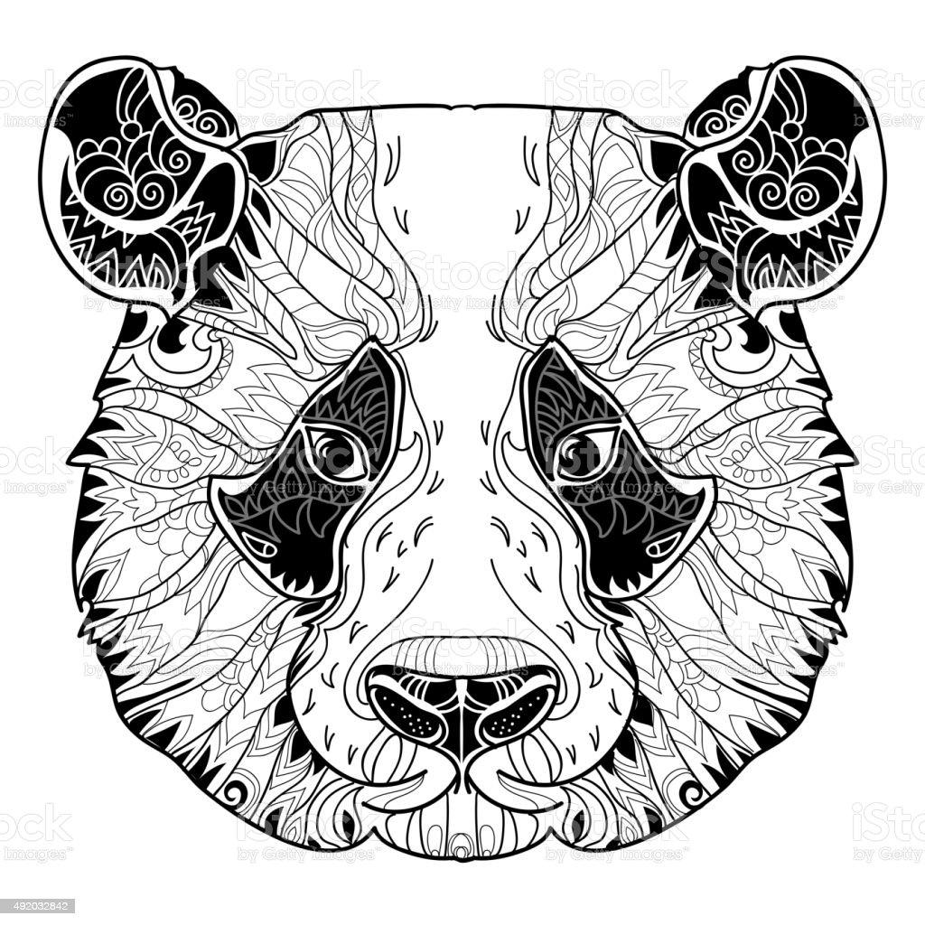 panda head doodle on white background stock vector art 492032842