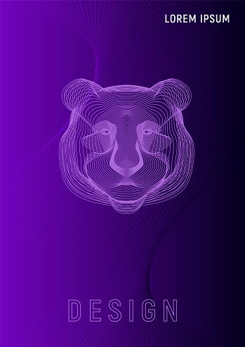 Panda head geometric gradient covers A4 template