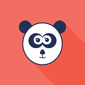 Panda Head Icon Navy and Coral Background