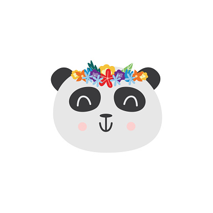 Panda head in flower wreath sticker or patch, flat vector illustration isolated.