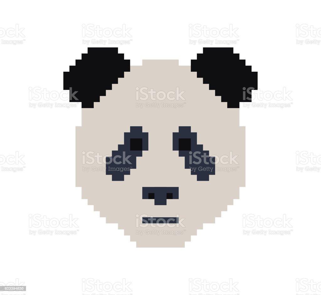 Panda Hoofd In Pixel Art Stijl Gemaakt Van Kleine Gekleurde
