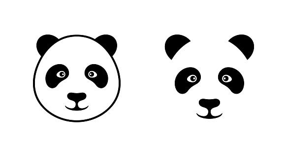 Panda head logo. Isolated panda head on white background