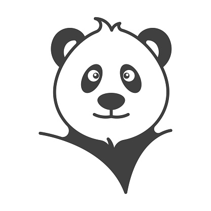 Panda head portrait icon. Simple, cute image of a stylish panda. Isolated vector on pure white background.