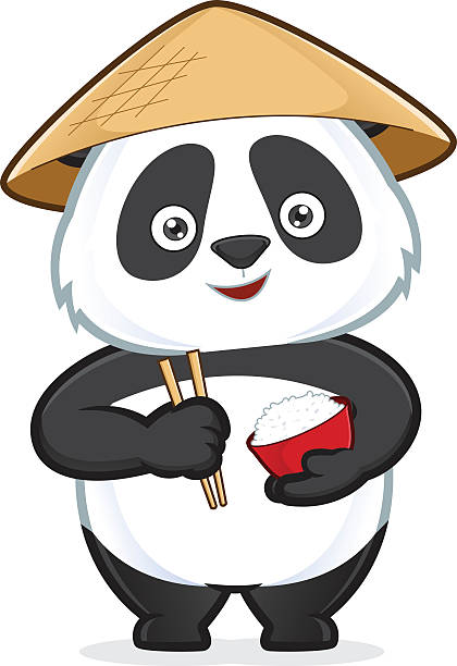Panda hält eine Schüssel mit Reis und Stäbchen – Vektorgrafik