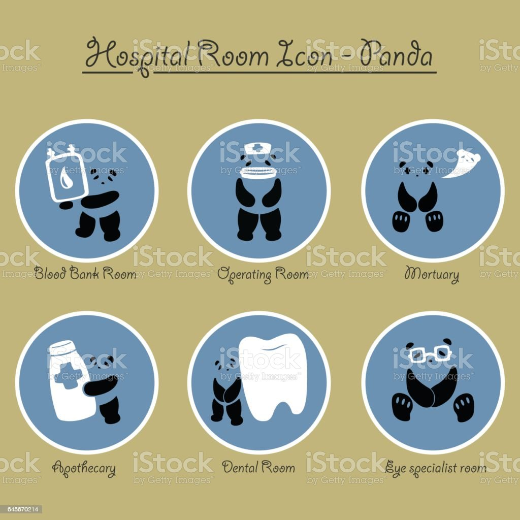 Panda Hospital Rooms Icon Collection vector art illustration