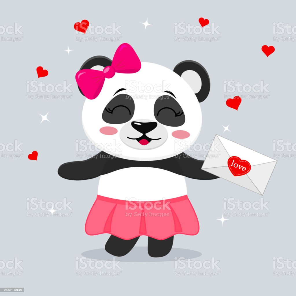 Animated Skirt panda in a skirt and with a pink bow holds a letter in paws