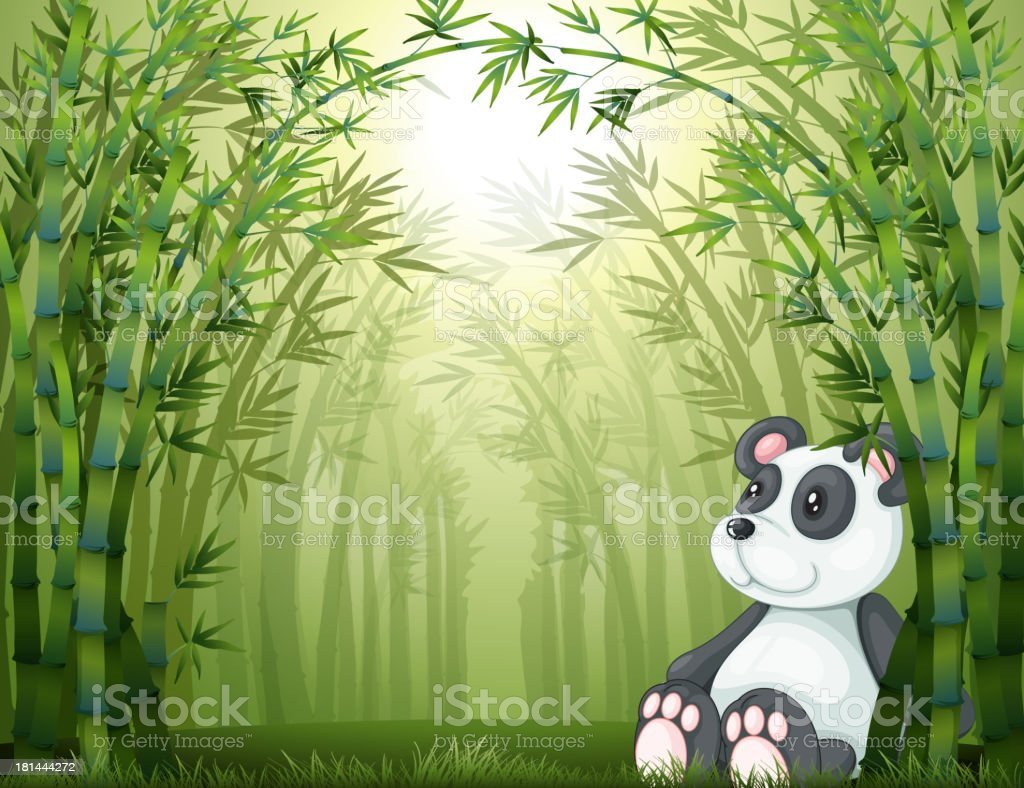 panda in the bamboo forest royalty-free stock vector art