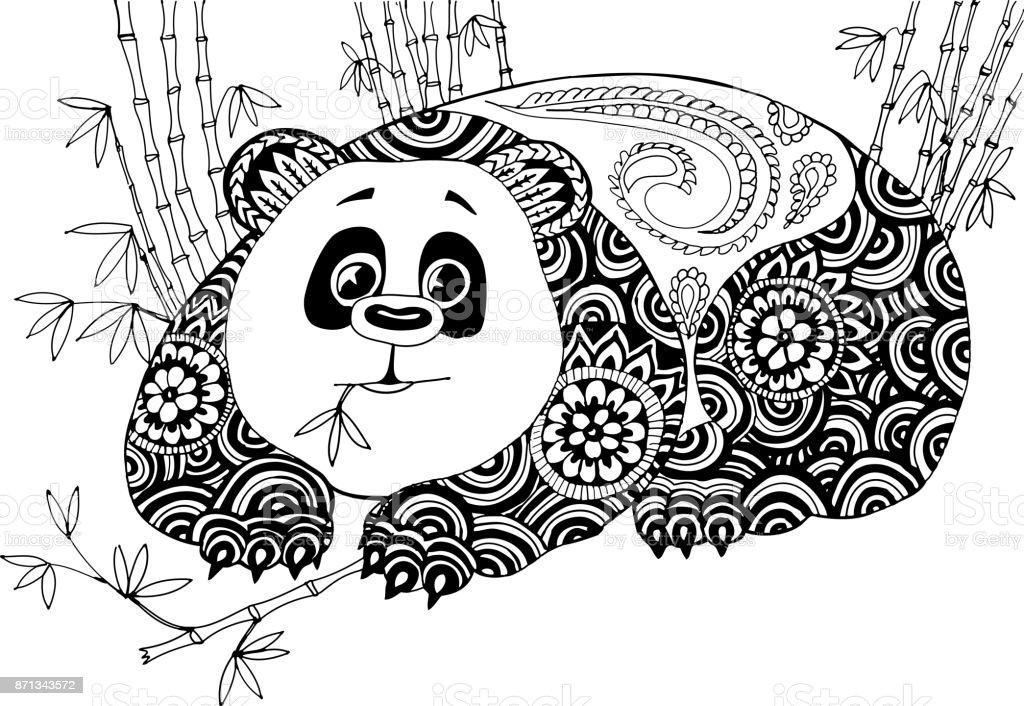 panda in den bambusdickicht handgezeichnete muster zum ausmalen stock vektor art und mehr bilder. Black Bedroom Furniture Sets. Home Design Ideas