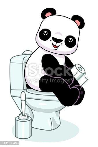 Panda en inodoro