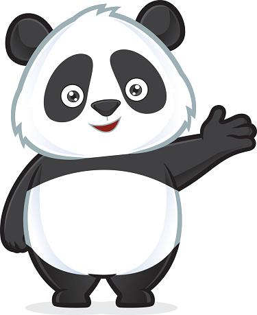 Panda in welcoming gesture