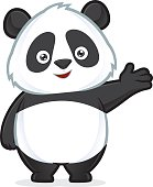 Panda in welcoming gesture